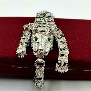 VTG Tiger Rhinestone Enamel Articulated Bracelet